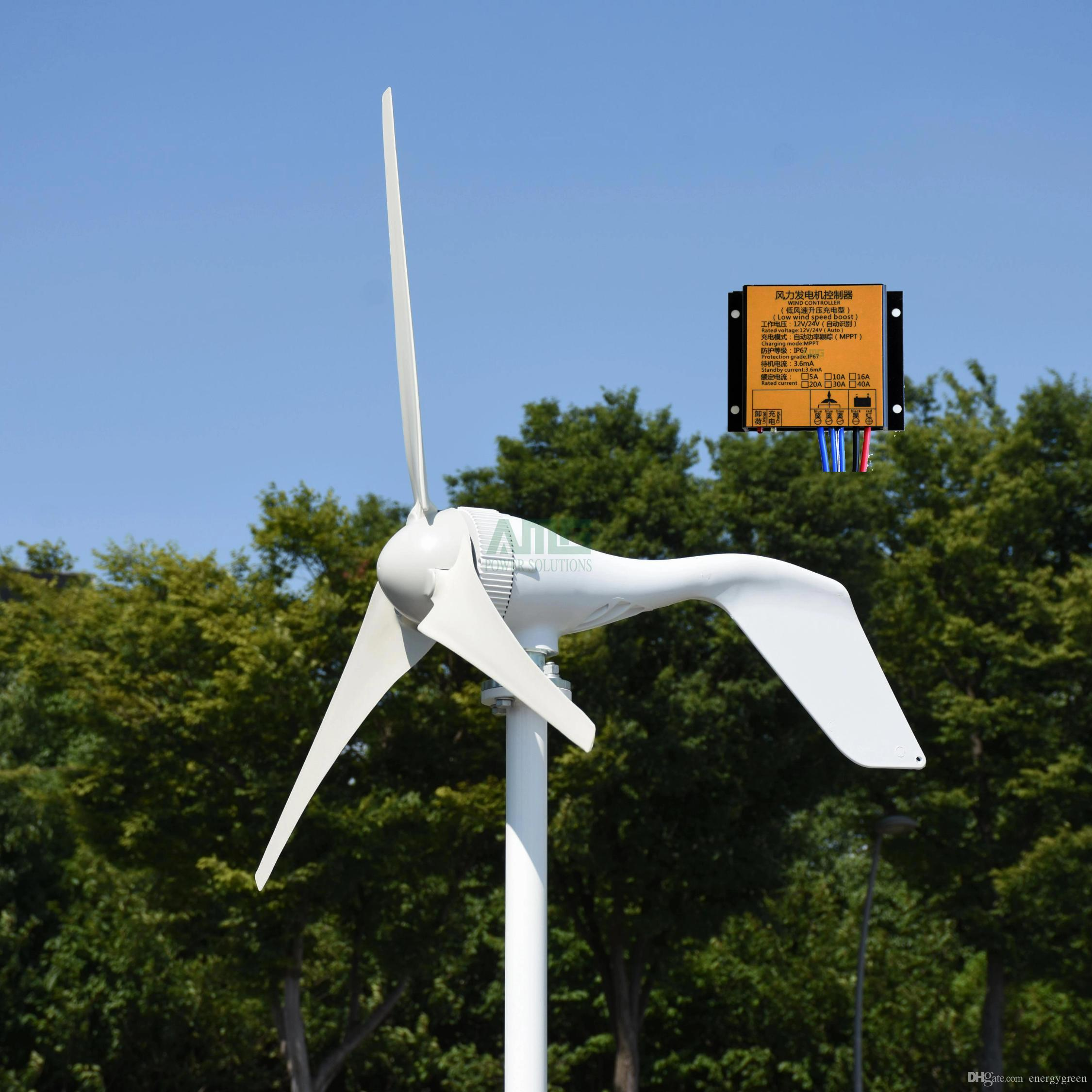 New 400w 12v 24v 5 or 3 blades wind turbine generator for streetlights use  home use with MPPT controller