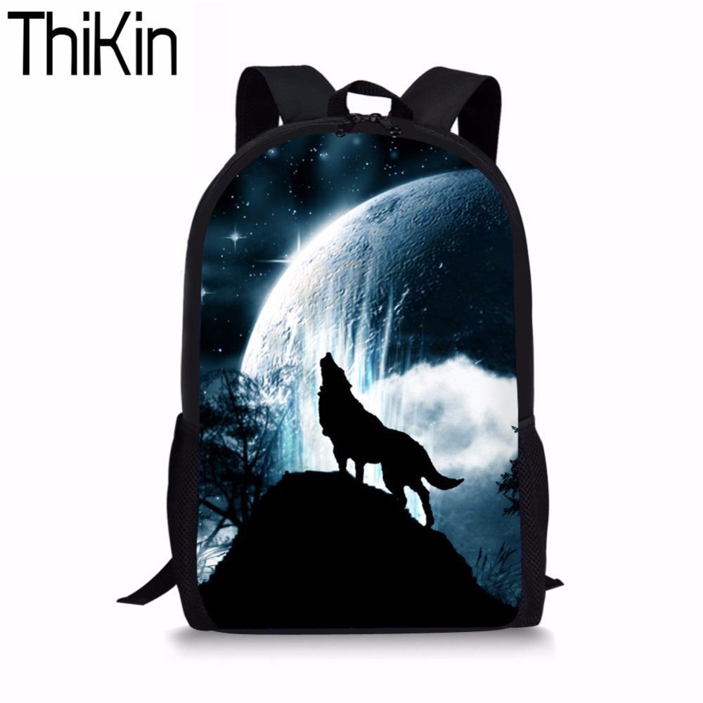 80154727aca THIKIN Kids Backpack 3D Cool Night Sky Wolf Printed BackpacChildren School  Bag Teens Boy Girls Casual Rucksack Animal Bagpack