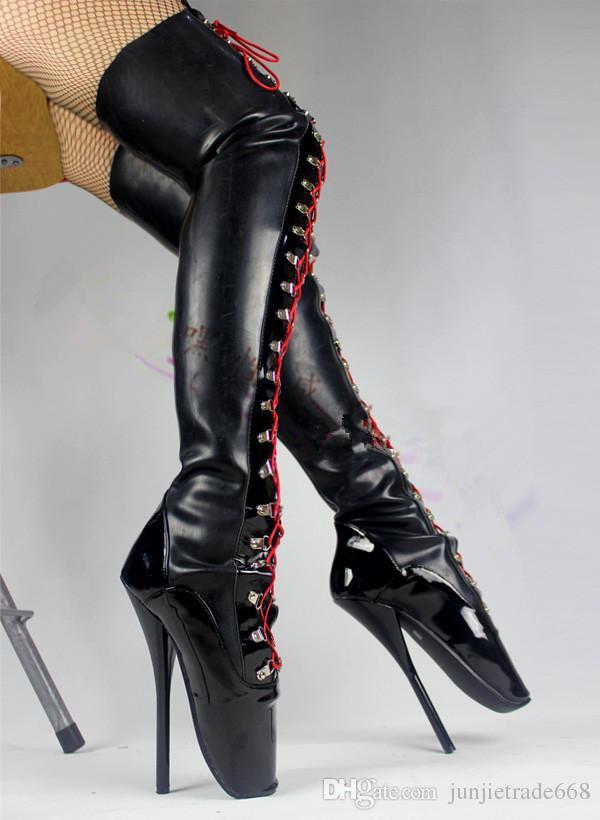 2018ss Persional high-top 18cm High Heel Ballet Boots Locking Feet Can Lock High-Waist Latex Boots
