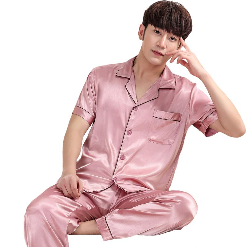 e755ee59e2cd 2019 Casual Men Nightwear Summer New Male Loose Pajamas Pijama Set Turn  Down Collar Shirt+Pants Home Wear Satin Sleepwear Suit From Vanilla01