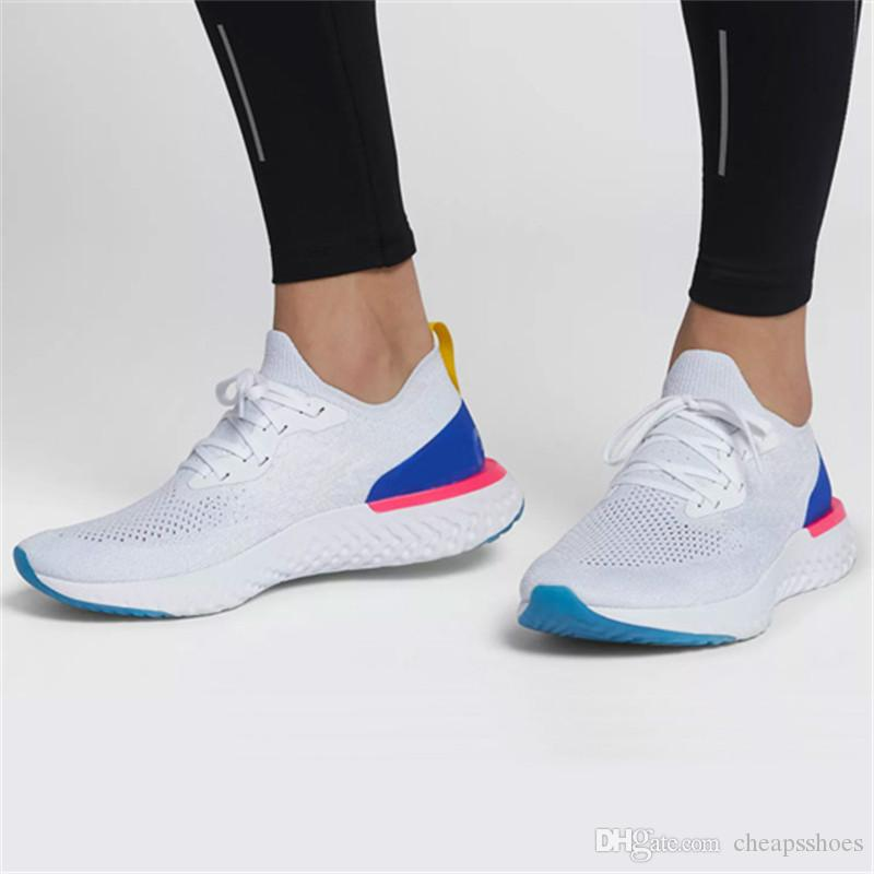 b9c853eeded5 2019 Newest 2019 Epic React Running Shoes For Mens Womens Triple Black  White Oreo Blue Breathable Mesh Summer Spring Sports Sneakers Eur 36 45  From ...
