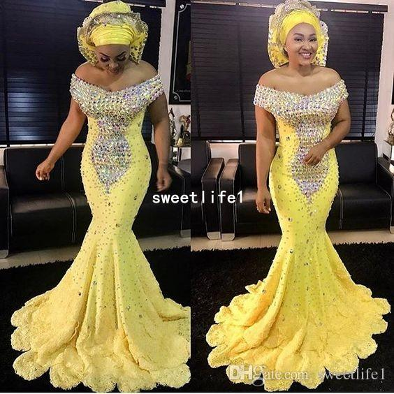 2019 Aso Ebi Style Off The Shoulder Evening Dresses Sparkly Beaded Crystal Fitted Mermaid Tiered Skirts Lace Formal Occasion Prom Party Gown