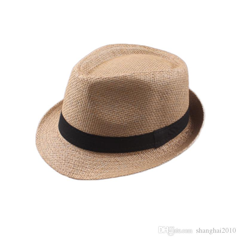 04c8be973a6 2019 Vogue Men Women Cotton Linen Straw Hats Soft Fedora Panama Hats  Outdoor Stingy Brim Caps Choose From Shanghai2010