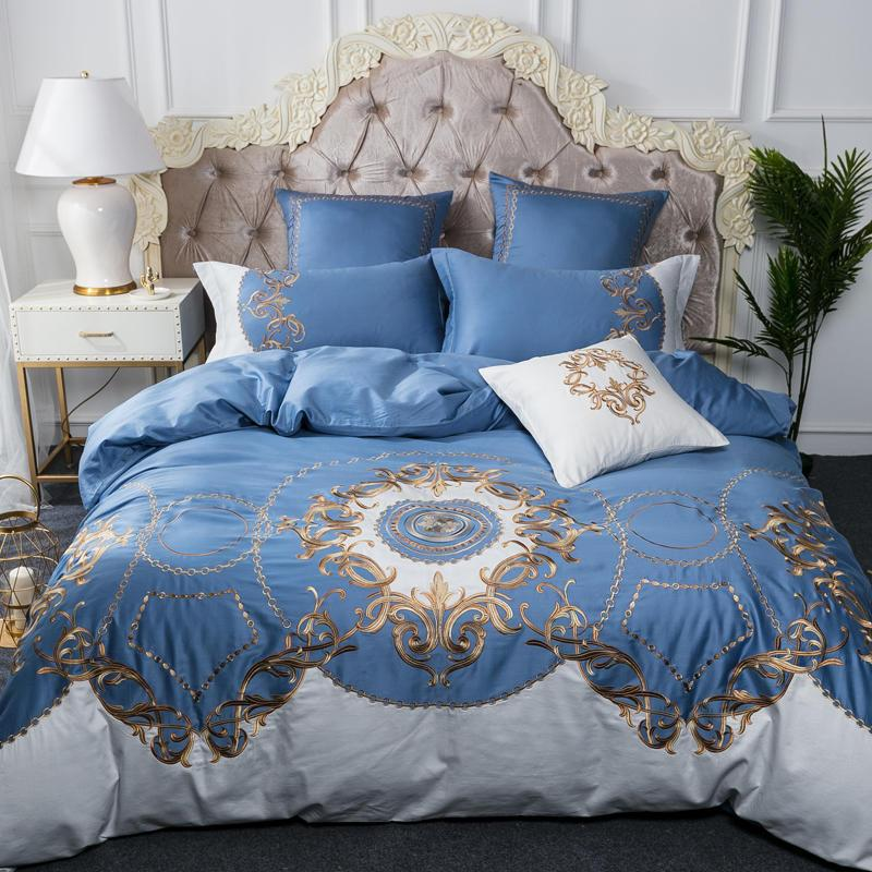 King Queen Luxury Bedding Set Blue Silver 100 Egyptian Cotton
