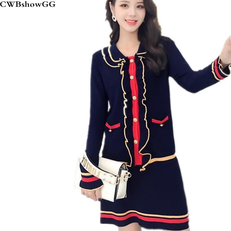 522c57c645c1 CWBshowGG Korean Fashion Suit Female Knit Jacket Skirt Two-piece Autumn  Sweater Ruffles Patchwork Short Skirts Two-piece Sets Women's Sets Cheap  Women's ...