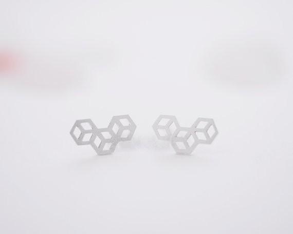 Moda 3 huzurlu gümüş kaplama saplama küpe Kadınlar için Geometrik kübik düzlem saplama küpe toptan ücretsiz kargo