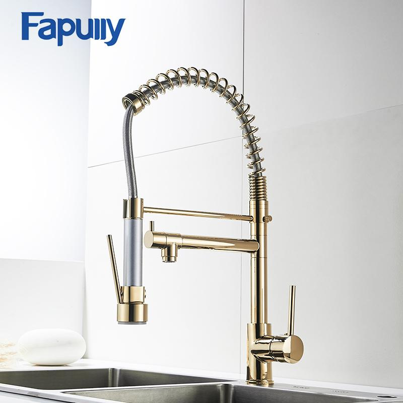 2019 Wholesale Gold Kitchen Faucet Sprayer Single Handle 360 Degree