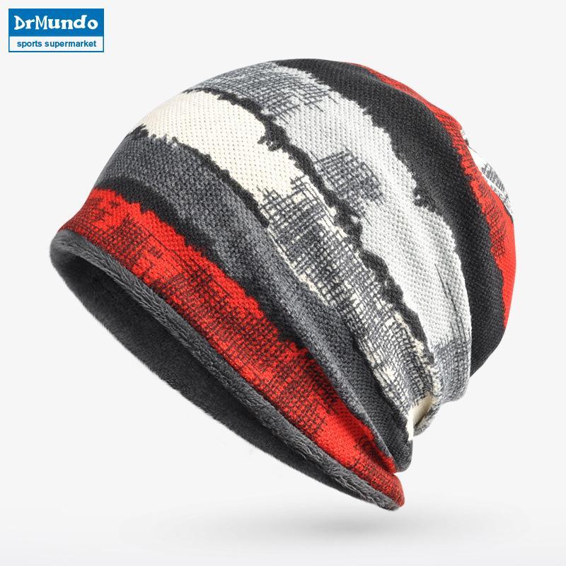 b8f34ee4ddf 2019 Men Ski Face Mask Winter Fleece Beanie Hats Warm Stripe Velvet Outdoor  Cycling Snow Bibs Cap Women Bonnet Hat Mask Scarf From Wavewind