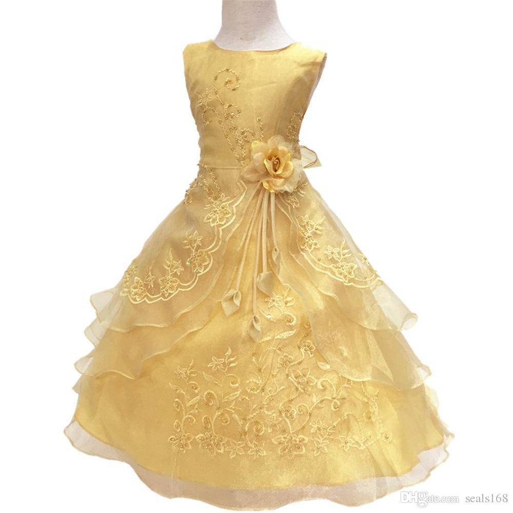 i nuovi vestiti del fiore delle ragazze ricamati vestiti da principessa della damigella d'onore di nozze del partito con i vestiti convenzionali dei bambini del cerchio HH7-937