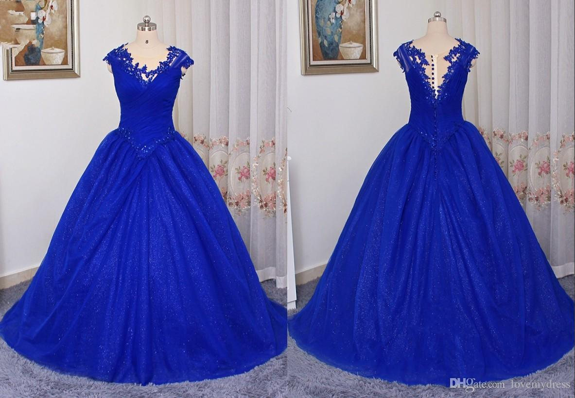 Ball Gown Sequined Dresses Jewel Neck Lace Applique Ruched Tulle ...