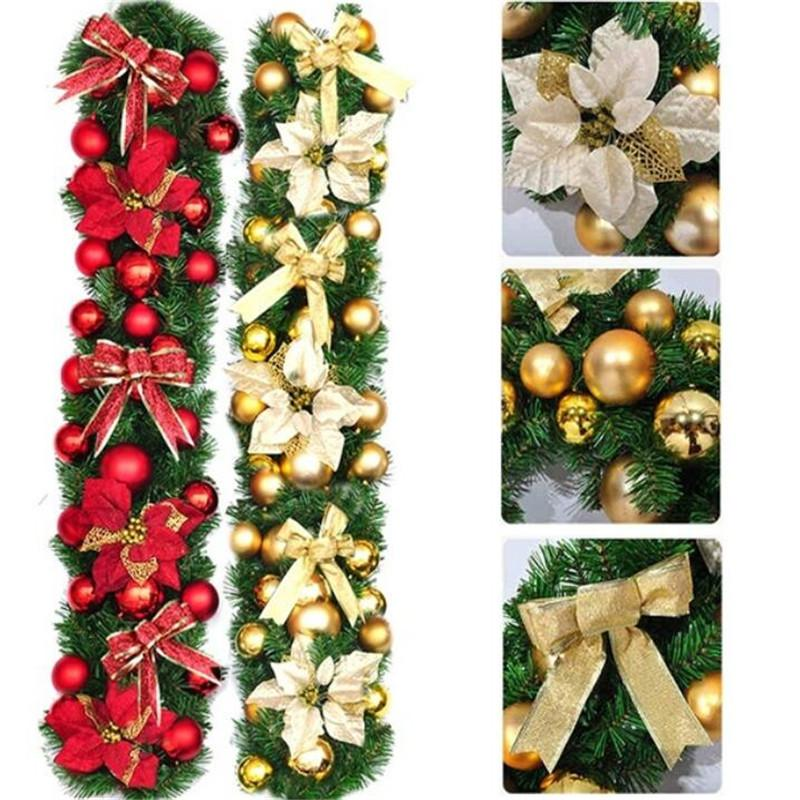 2 7m Gold Red Hot Sale Luxury Bowknot Flower Balls Decorated Thick Mantel Fireplace Christmas Garland Pine Tree Hwu