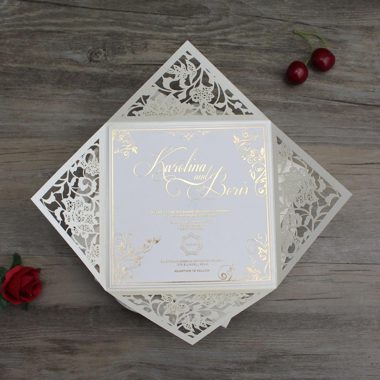 Laser Cut Wedding Invitation Cards With Envelope Black Navy Blue Ivory Paper Marriage Card Custom Printable Birthday Greetings