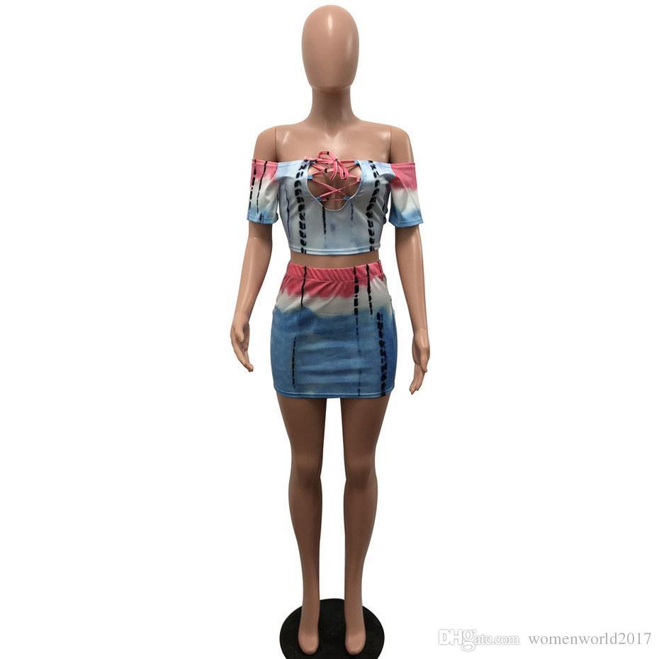Sexy Dos piezas más el tamaño del vestido Tie Dye Off Shouder manga corta Bodycon vendaje vestido de verano Mini vestidos de fiesta