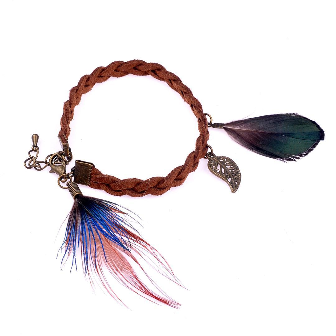 lureme Native American Jewelry 10 Different Style Pheasant Feather with Small Pendant Leather Bracelets for Women (bl003017)