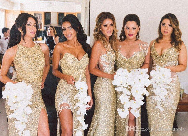 Brillante Bling de oro con lentejuelas sirena vestidos de dama de honor sin respaldo de hendidura más el tamaño de la dama del honor vestido de novia