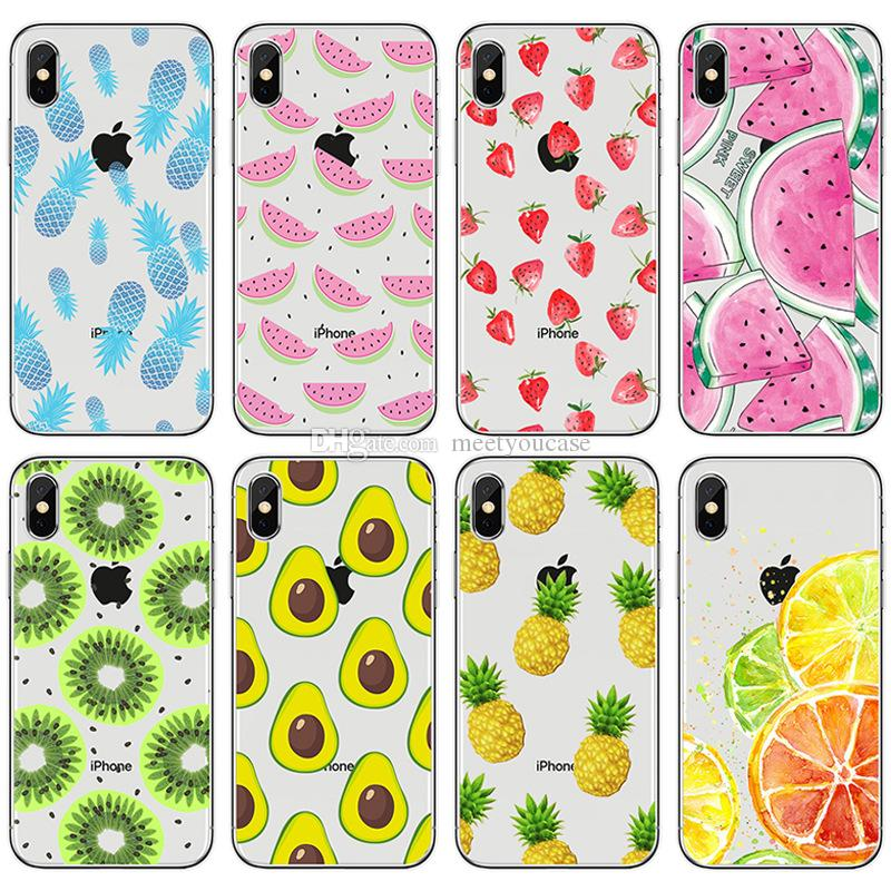 wholesale dealer 91698 cdaa0 Fruit lemon pineapple watermelon banana avocado kiwi TPU clear Phone Case  For Apple iPhone 5 5S SE 6 6S 7 8 Plus X Soft Back Cover protector