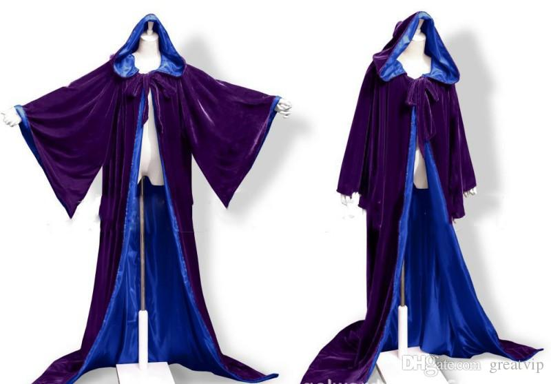 Purple Wedding Jacket Wraps Warm Velvet Long Sleeves Hood Capes Halloween Costumes for Women Men Cosplay Bridal Cloak S-6XL