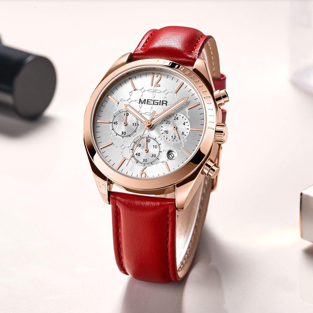 d8338db1c7d Compre 2018 MEGIR Top Marca Mulher Relógio Feminino Relógios De Quartzo  Senhora Moda Pulseira De Couro À Prova D  Água Relógio De Pulso Relogio  Feminino ...