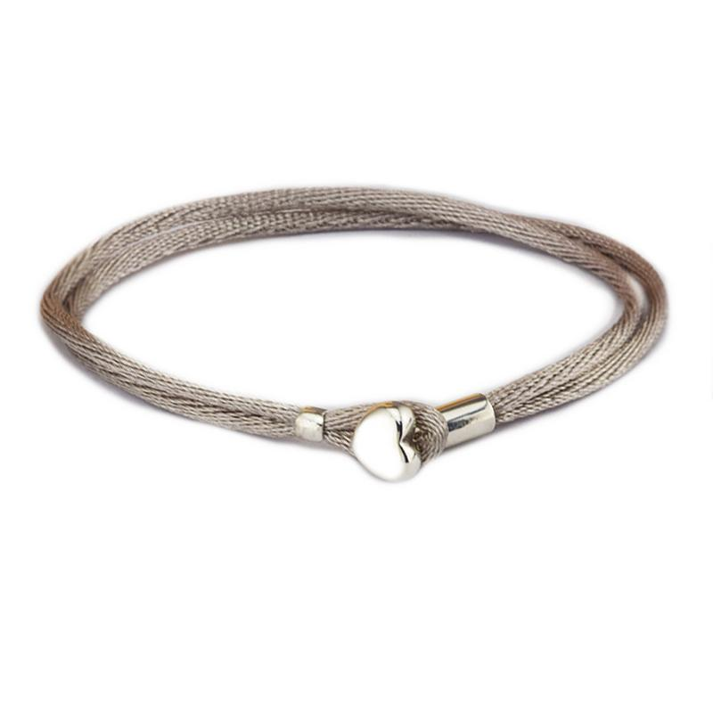 Compatible With European Jewelry Grey Green Fabric Cord Bracelet 100% 925 Sterling Silver Bangles DIY Wholesale S18101507