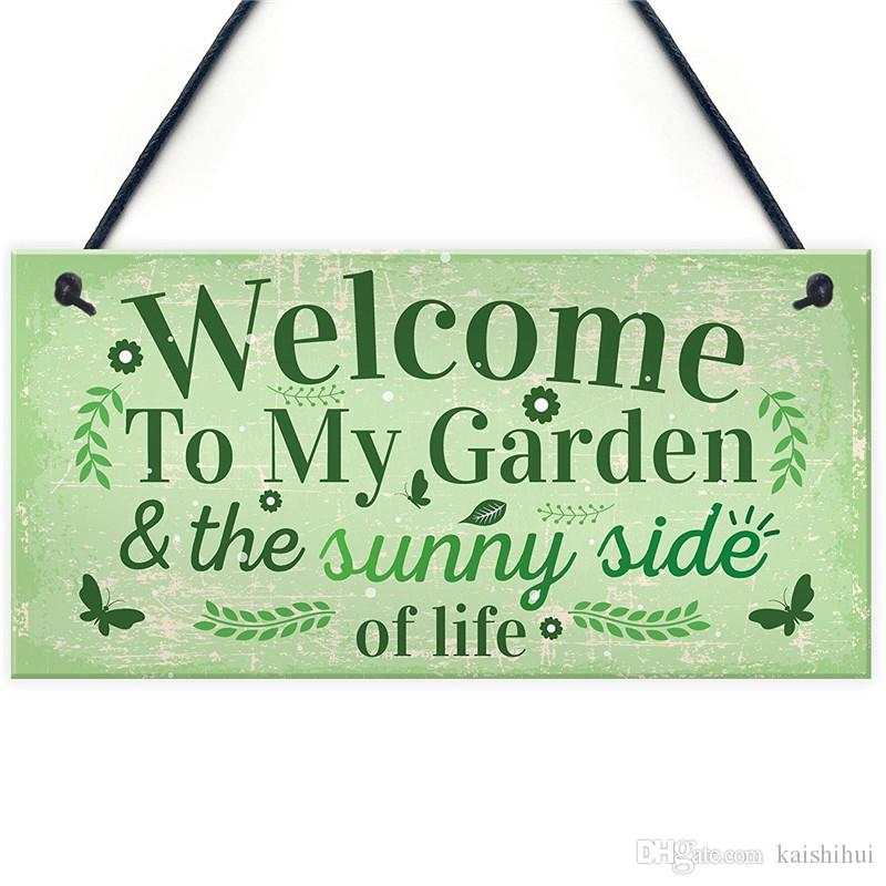 Welcome To My Garden Plaque Outdoor Shed Summer House Plastic Sign Novelty Chic Decor Friendship Gift