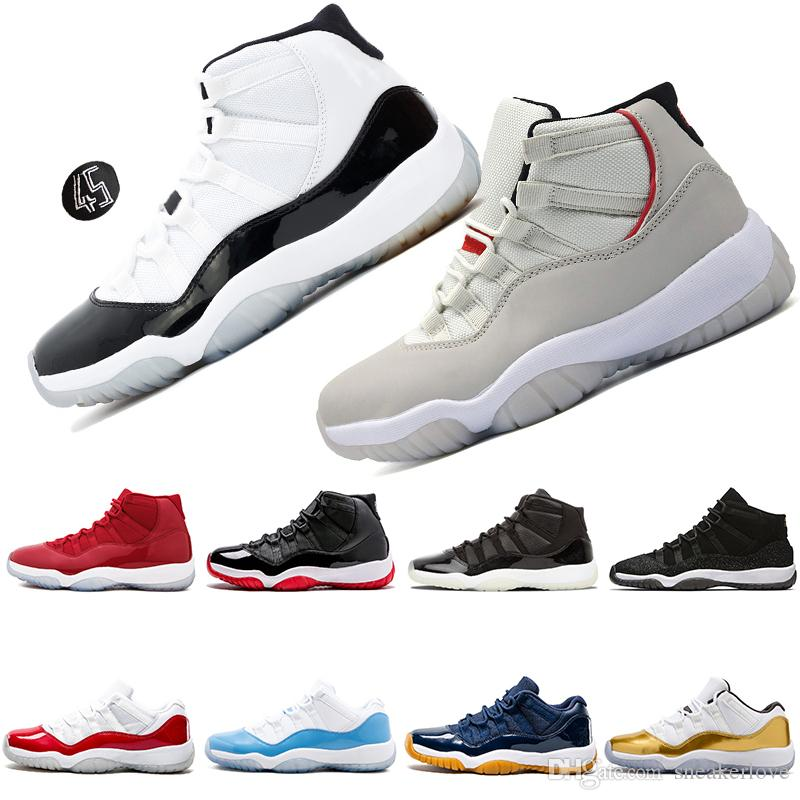39a4ac947df81c Acheter 11 11s Concord 45 23 Prom Night Hommes Chaussures De Basket Ball  Platinum Teinte Gym Rouge Bred PRM Heiress Barons Cool Gris Mens Chaussures  De ...