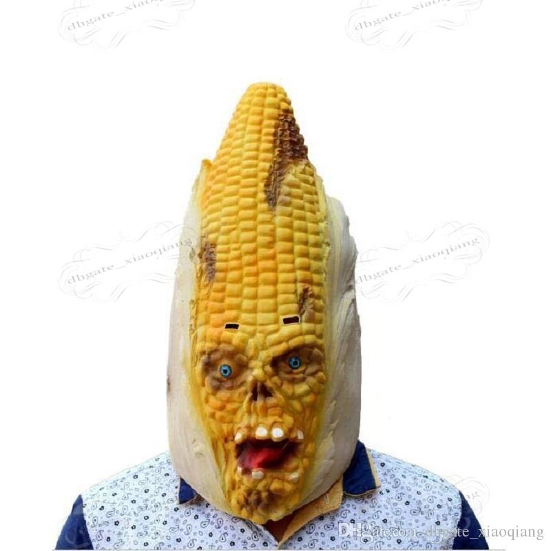 2017 New Yellow Personality Corn Modeling Mask Halloween Adult Dance Horror Head Set Party Decorating Funny Face Mask