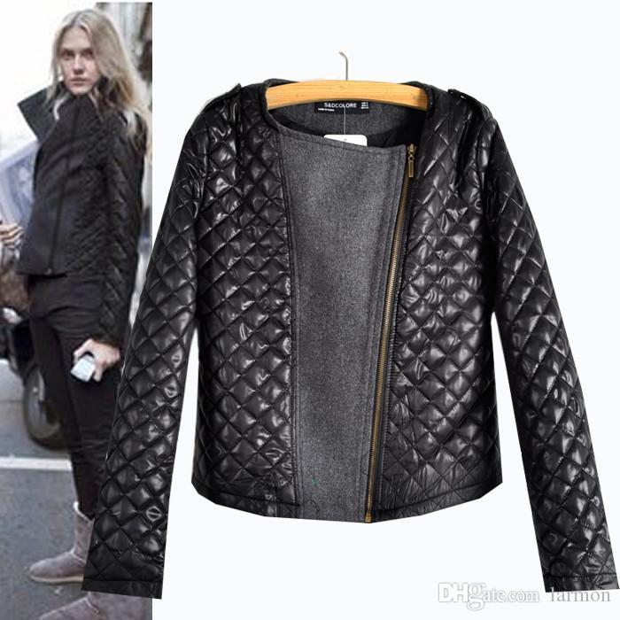 Wholesale New Fashion Quilted Jackets Women Cool Patchwork Black