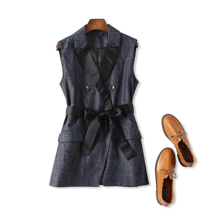 4ee3e7aa7529f 2019 2018 Autumn New Women Turn Down Collar Double Breasted Vest Coat Brand  Lady Temperament Sleeveless Office Work Jacket With Belt From Sikaku