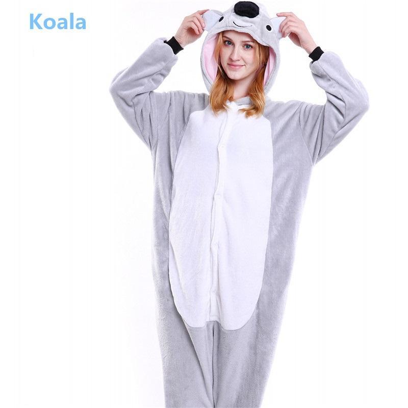 ceb7deebc9 Winter Unisex Adult Kigurumi Sleepwear Animal Pajamas Cute Cartoon Animal  Flannel Hooded Pajamas Koala Leopard Bear Pyjama Online with  76.13 Piece  on ...