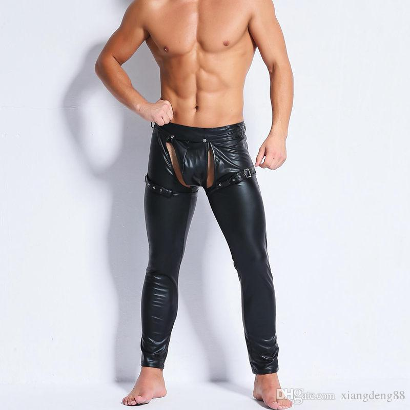 Sexy Lange Enge Slim Wet Unterhosen Exotic Kunstleder Dancer Herren 2018 Club Look Gays Fetisch Mode Hosen Yyg6If7bv