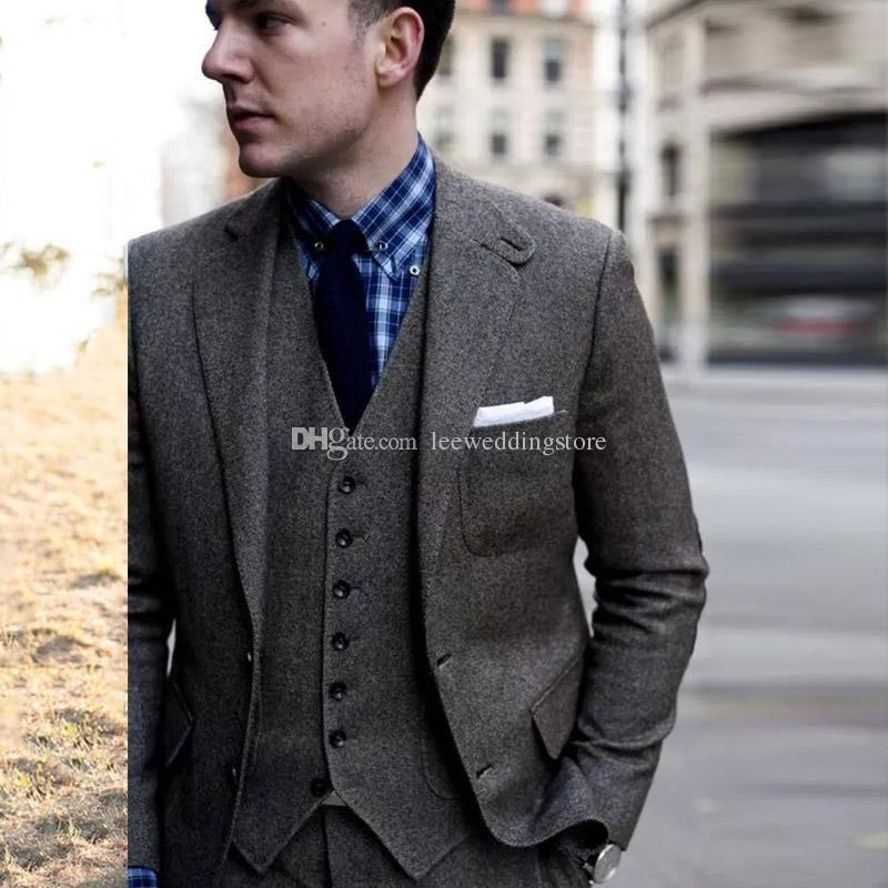 d7058015f80 Compre 2018 Vintage Grey Tweed Trajes De Hombre Trajes De Boda Para Hombre  Novio Novio Use Chaqueta Larga Chaqueta Slim Fit Por Encargo Tuxored Tuxedo  ...