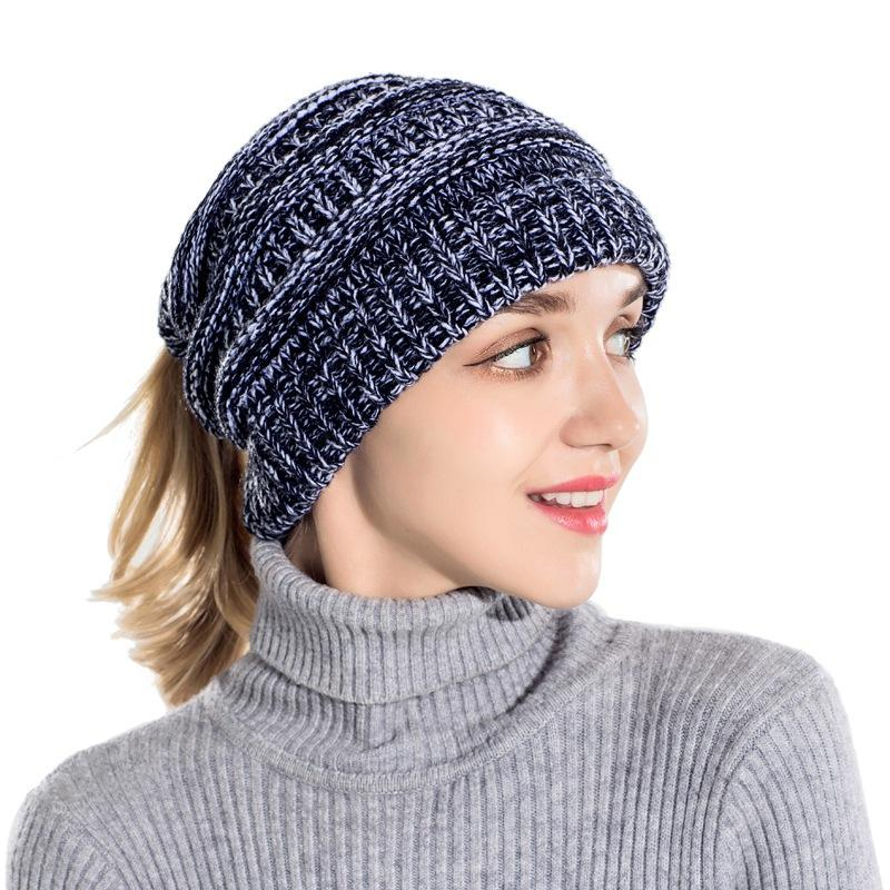 5ad284fc7 Knitted ponytail sweater wool cap head cap outdoor warm knit ponytail hat  wool sweater warm
