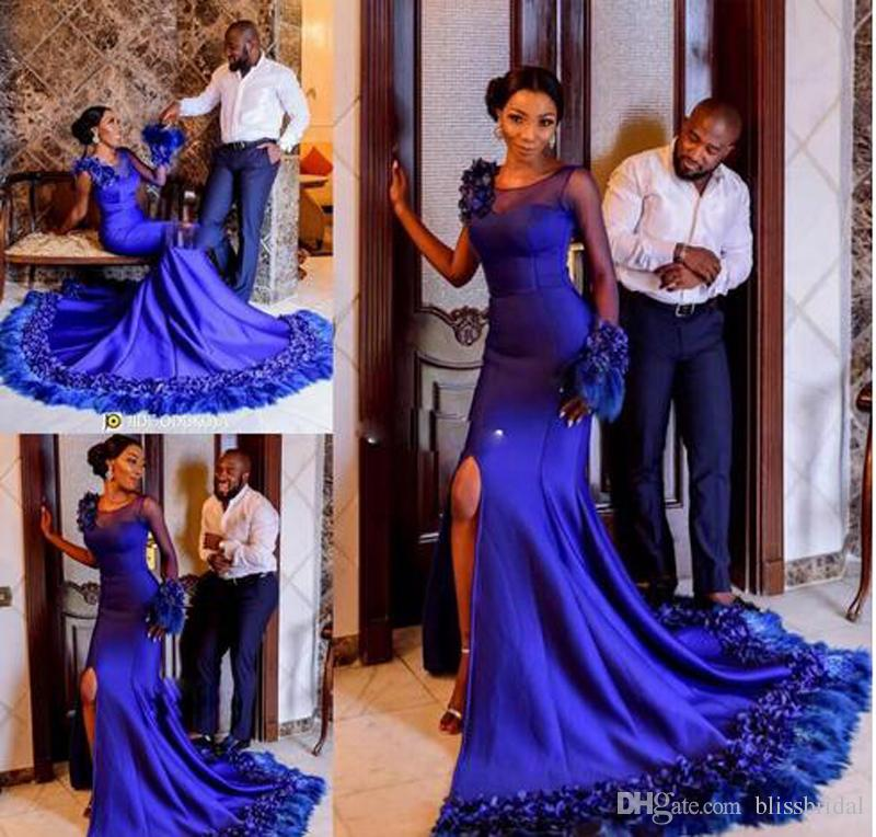 Luxuriant Royal Blue Satin Prom Gown Hand Made Flowers and Feather Bottom Evening Dresses Sheer Neck One-Shoulder Sexy Side Split Party Gown