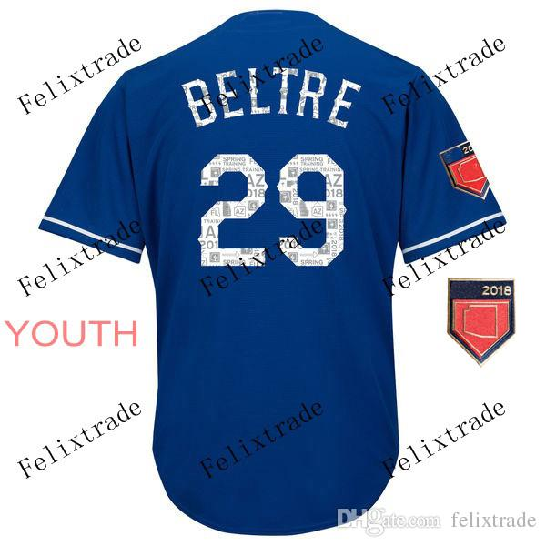 acaabfd69ad Youth 2018 Spring Training 29 Adrian Beltre Baseball Jersey Blue ...