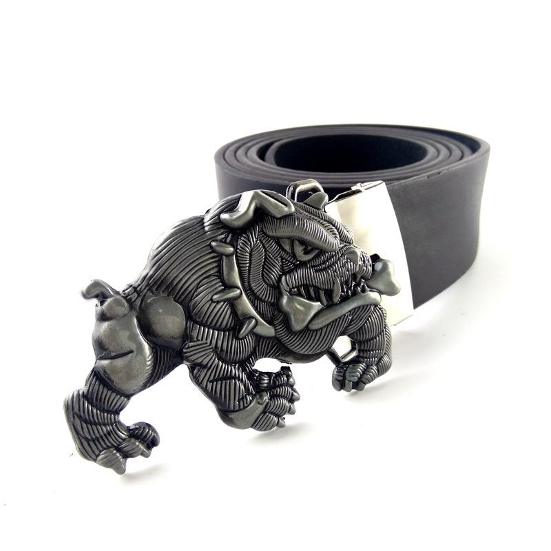 Cowboy Belts For Men With 3d English Bulldog Metal Buckle Black Faux