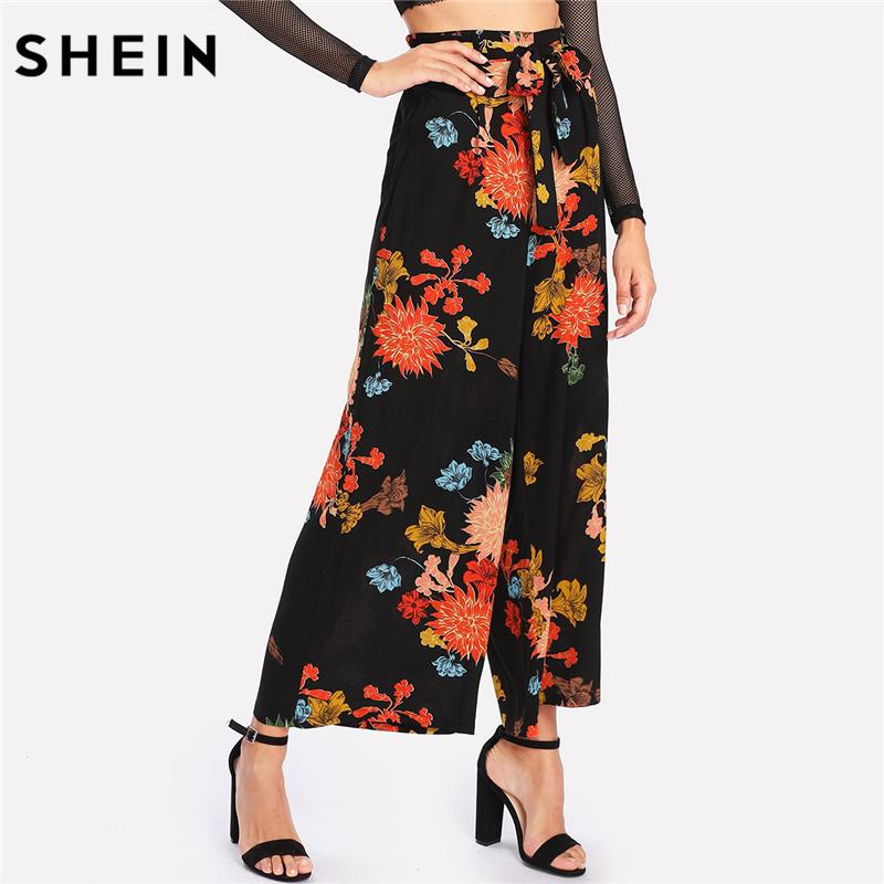 de4fd5cbe5 SHEIN Wide Leg Pants for Woman Multicolor High Waist Loose Trousers  Vacation Frilled Elastic Waist Floral Wide Leg Pants D1892603 Online with  $27.15/Piece ...