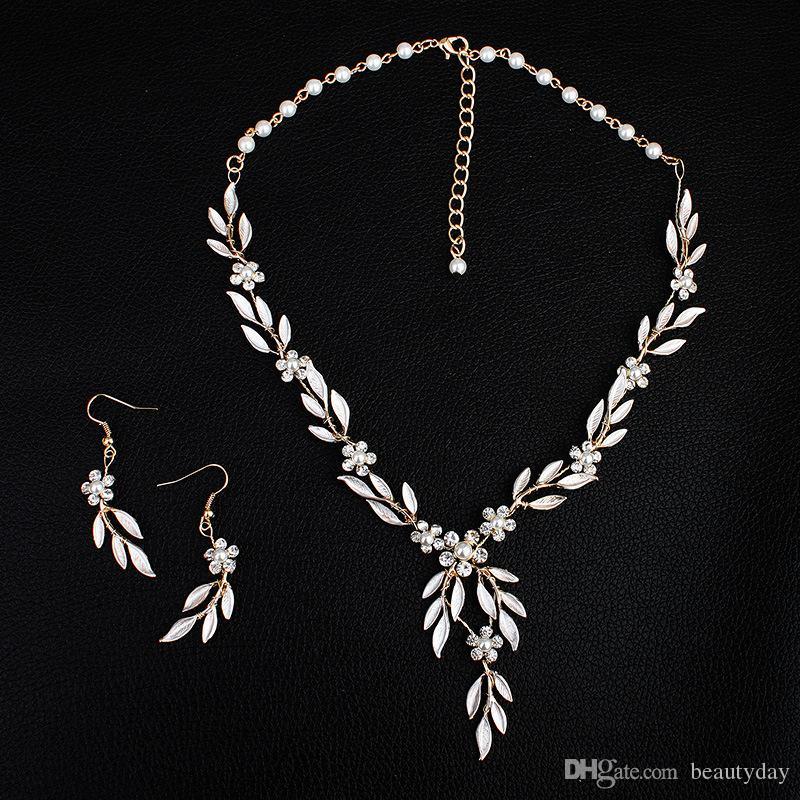 2019 Korean Style Gold Leaves Earring Necklace Set Headban