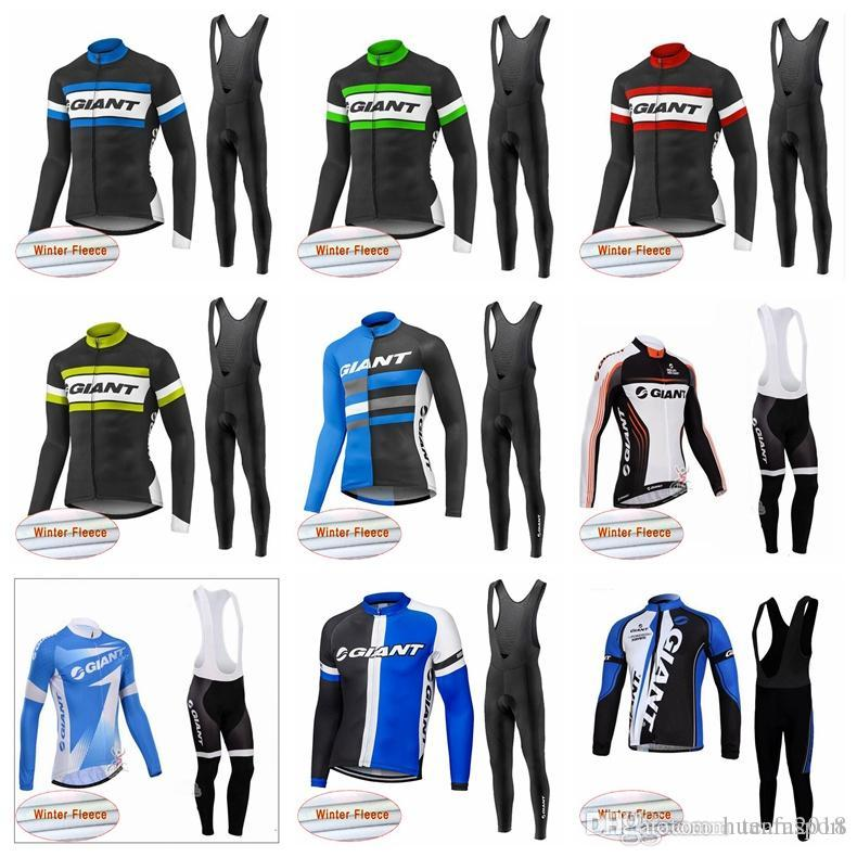 GIANT team Cycling Winter Thermal Fleece jersey bib pants sets Cold protection keep warm and comfortable bicycle clothing sets 841420