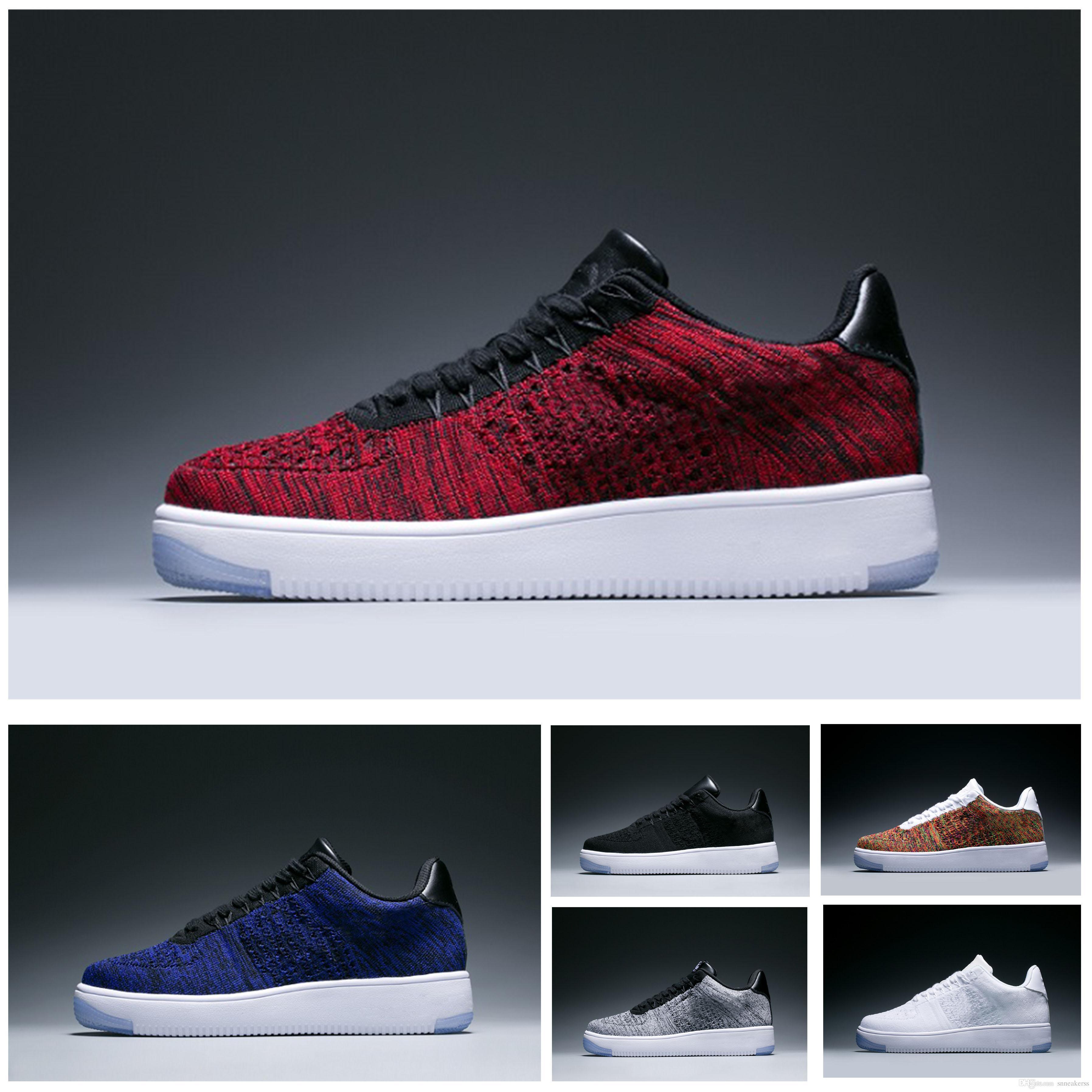 huge discount 5f580 833e8 Acheter Nike Air Force 1 Flyknit Af1 Designer Sneakers 2018 Casual Shoes  Nouveau Style Femmes Force High Low Lover Chaussures De Planche À Roulettes  Une ...
