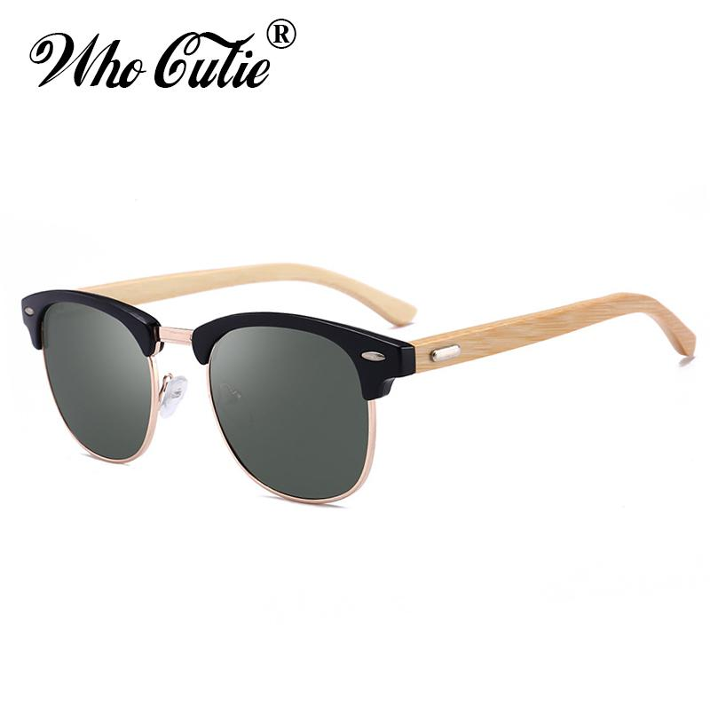 8130fe3f9a11 2018 Square Handmade Bamboo Sunglasses Men Women Brand Designer Club Master  Vintage Rivet 3016 Hot Rays Sun Glasses Shades Online Eyeglasses Discount  ...
