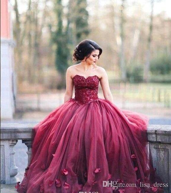 2018 New Burgundy Strapless Ball Gown Princess Quinceanera Dresses ...