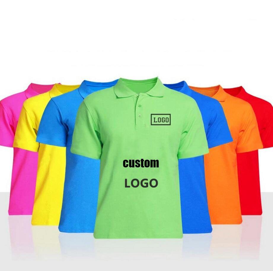 Pure Cotton Lapel Staff Polo Uniform Customized Mens T Shirt