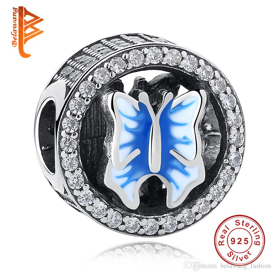 3c526ca9540 BELAWANG 100% 925 Sterling Silver Butterfly Round Beads Charms With Light  Blue And White Enamel Fit Pandora Bracelets DIY Women Jewelry
