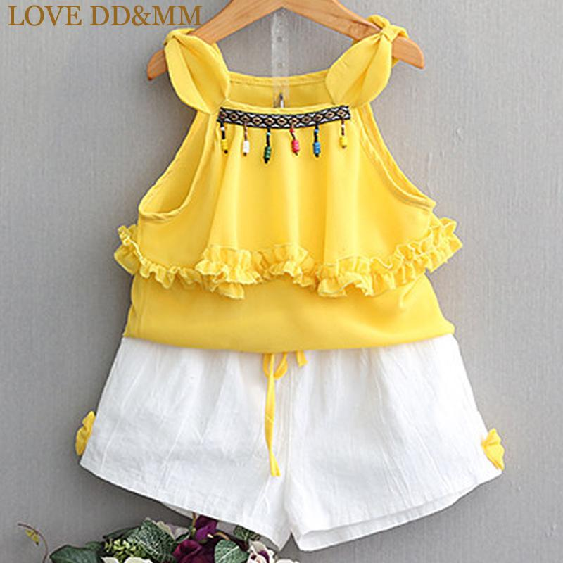 bb5139aada5 2019 LOVE DD MM Girls Sets 2018 Summer New Children S Clothing Children S  Chiffon Suspenders + White Bow Shorts Two Piece Suit From Coolhi