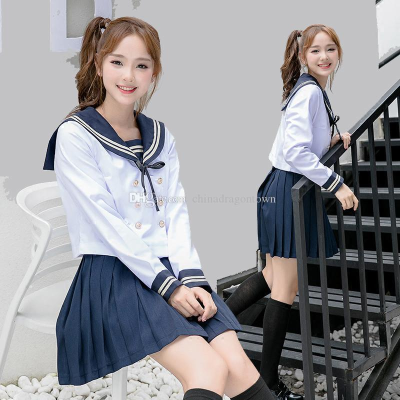 a9c04720b5eab New sweet Anime Costumes High quality sailor suit students school uniform  for teens preppy style wear JK fashion School girl cosplay Sets