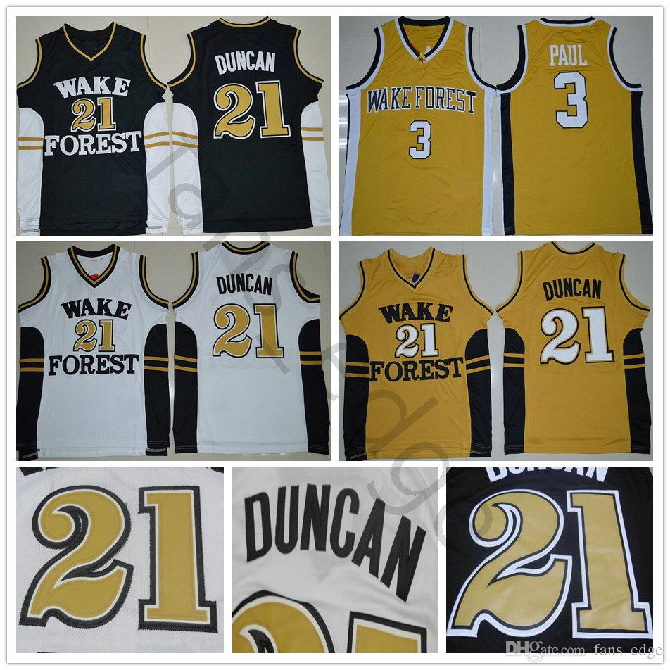 e57ecf9cab8 2019 NCAA Wake Forest Demon Deacons Tim College  21 Duncan Jersey Black  White Gold Stitched  3 Chris University Paul Basketball Jerseys Shirts From  ...
