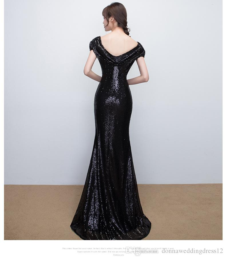 Mermaid Rose Gold Navy Sequins Prom Dresses 2018 African Cheap Scoop Floor Length Backless Prom Dresses Evening Gowns Long Formal Party