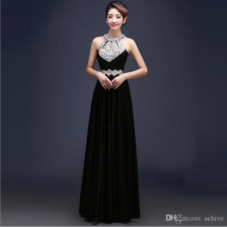 Discount Beaded Crystal Long Prom Dresses 2018 Cheap Red Purple Black Evening Gowns Halter Sexy Floor Length Party Dresses for Women China