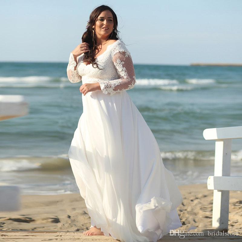 compre elegante tallas grandes vestidos de novia blancos manga larga