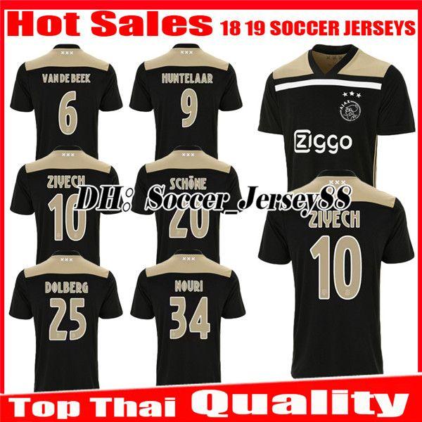 281c9e33caa 2019 New 2018 2019 Ajax SOCCER JERSEY 18 19 DOLBERG Away ZIYECH KLAASSEN  MILIK HUNTELAAR NOURI Black/Raw Gold Jerseys Uniforms Football Shirt From  ...